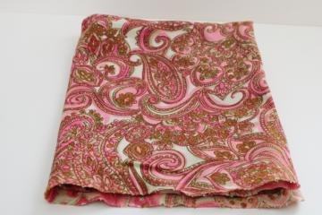 70s 80s vintage paisley print cotton pique knit fabric, boho style girly pink