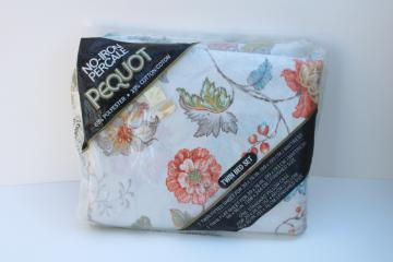 70s 80s vintage poly cotton bedding Southbridge floral print, mint in pkg twin sheets set