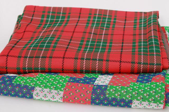70s 80s Vintage Poly Double Knit Fabric Christmas Tartan