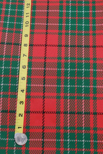 70s 80s vintage poly double knit fabric, Christmas tartan plaid & calico patchwork quilt print