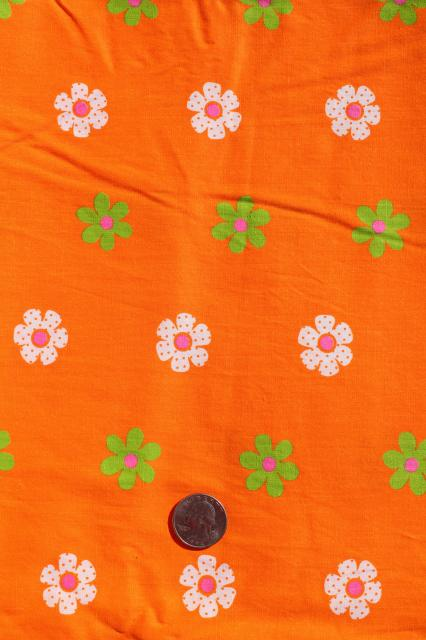 70s day-glo bright neon print fabric, cotton blend broadcloth w/ flower border