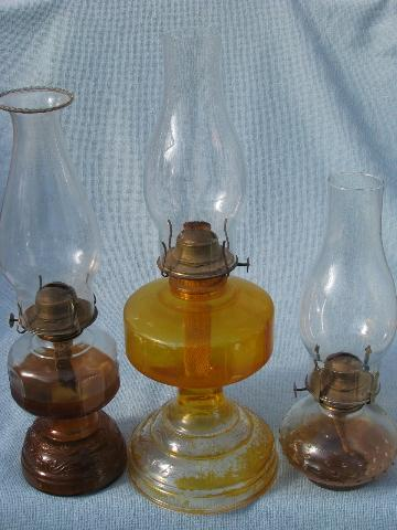 70s homesteading vintage glass oil lamps w shades kerosene lamp lot mozeypictures Image collections