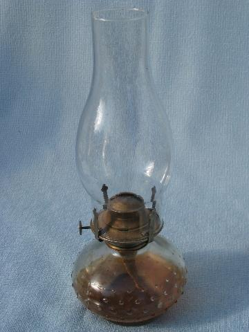 70s homesteading vintage glass oil lamps w/ shades, kerosene lamp lot