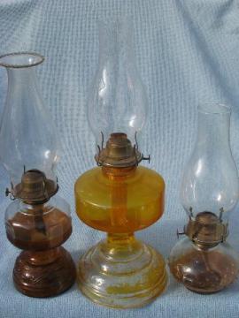 70s homesteading vintage glass oil lamps w/ shades, kerosene lamp lot