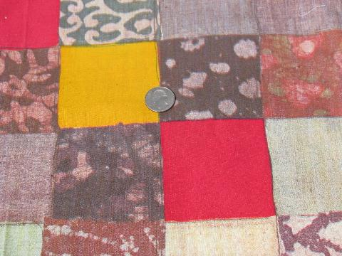 70s patchwork print cotton fabric, pioneer style quilt pattern, boho retro!