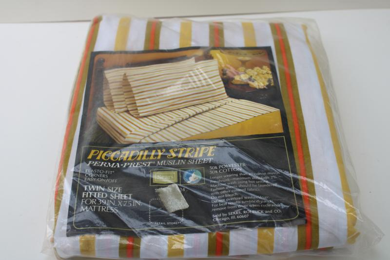 70s retro vintage bedding, mint in package bed sheet w/ orange avocado green gold stripe