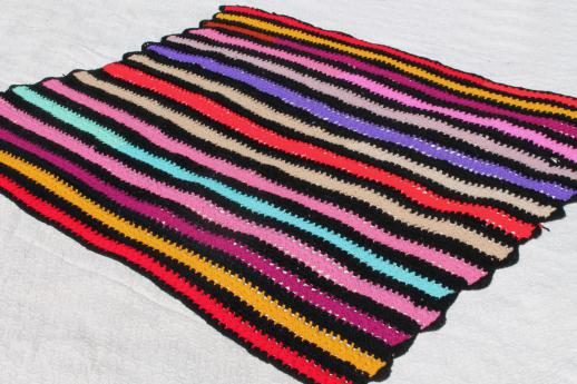 70s retro vintage crochet afghan blanket, multi-colored stripes w/ black