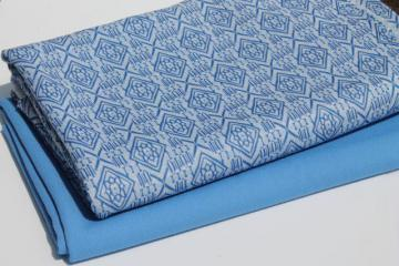 70s retro vintage poly double-knit fabric, sky blue & white coordinating fabrics