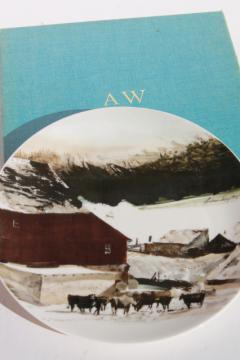 70s vintage Andrew Wyeth / Georg Jensen china collectors plate, Kuerner Farm cows