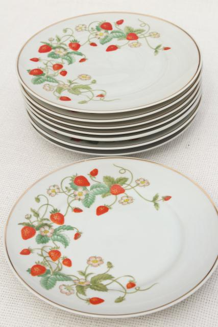 70s vintage Avon strawberry pattern china salad or dessert plates w/ red strawberries set of 8  sc 1 st  Laurel Leaf Farm & 70s vintage Avon strawberry pattern china salad or dessert plates w ...