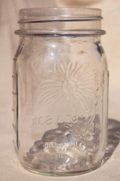 70s vintage Ball Mason flower series glass canning jar, Black Eyed Susan