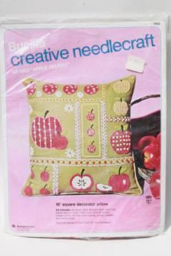 70s vintage Bucilla Creative Needlecraft kit, Apple Delight crewel embroidery w/ apples