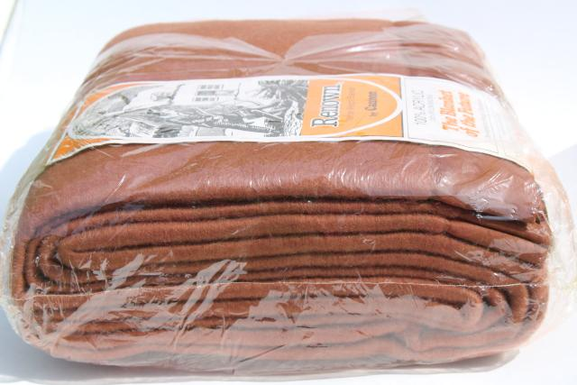 70s vintage Cannon acrylic bed blanket, new in package, chestnut brown solid color