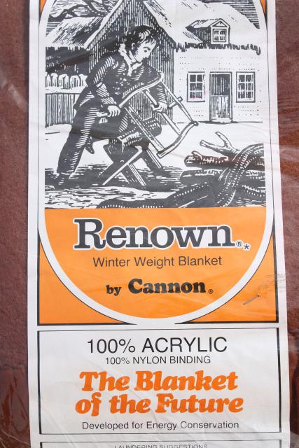 70s vintage cannon acrylic bed blanket new in package chestnut brown solid color