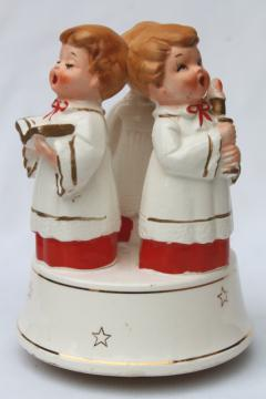 70s vintage Christmas music box, boy angels choirboys plays O Come All Ye Faithful