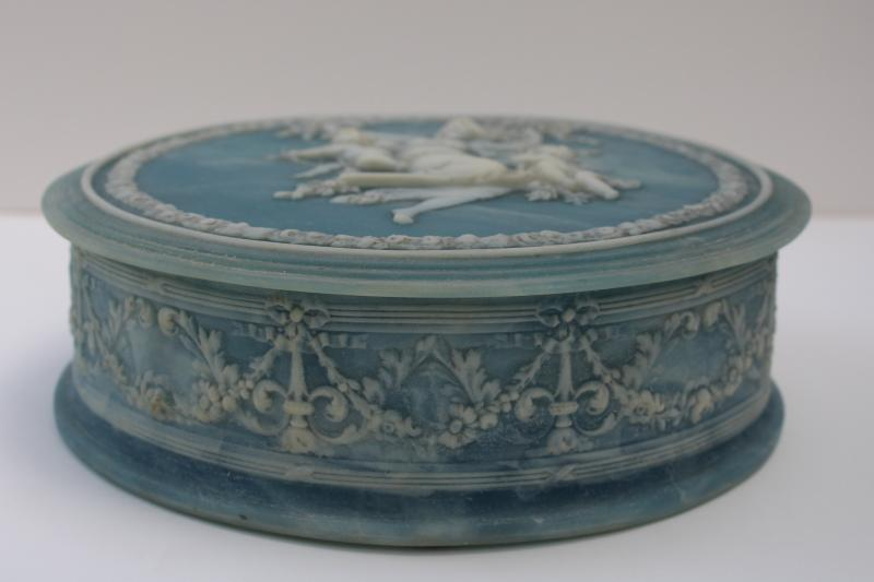 70s vintage Incolay stone jewelry box, blue & white jasperware style classical scene