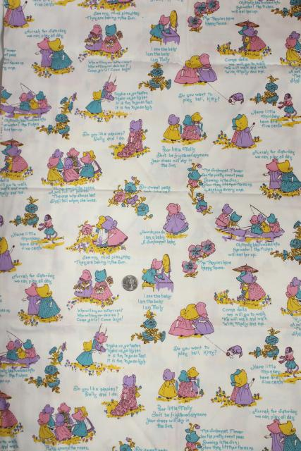 70s vintage Kate Greenaway old fashioned little girls print fabric, cotton duck material