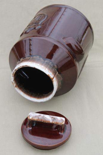 70s vintage McCoy brown drip glaze pottery cookie jar w/ Liberty Bell