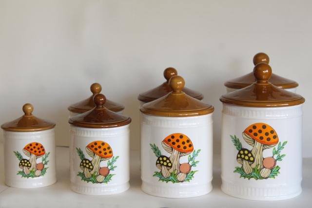 70s vintage Sears Merry Mushroom ceramic canisters, retro kitchen counter storage jars