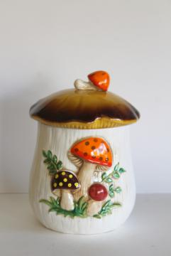 70s vintage Sears Merry Mushroom cookie jar, large ceramic canister retro kitchenware