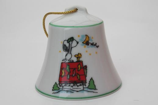 70s Vintage Snoopy Peanuts Christmas Ornament Bells In Original Boxes Dated 1977