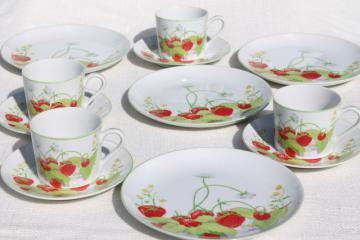 70s vintage Strawberry Hill china plates, teacups & saucers - Seymour Mann