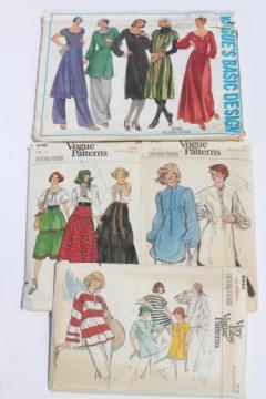 70s vintage Vogue sewing patterns lot, tunics & tunic dress, gypsy blouse & skirt