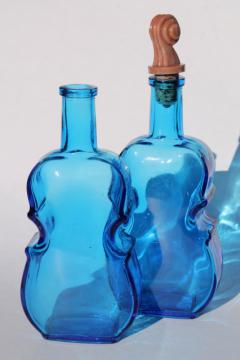 70s vintage Wheaton glass decanters, blue glass violin bottles antique reproductions