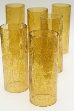70s vintage amber glass hurricane shades, rustic crackle glass texture candle shade