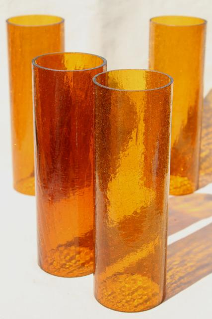 70s Vintage Amber Glass Hurricane Shades Rustic Crackle