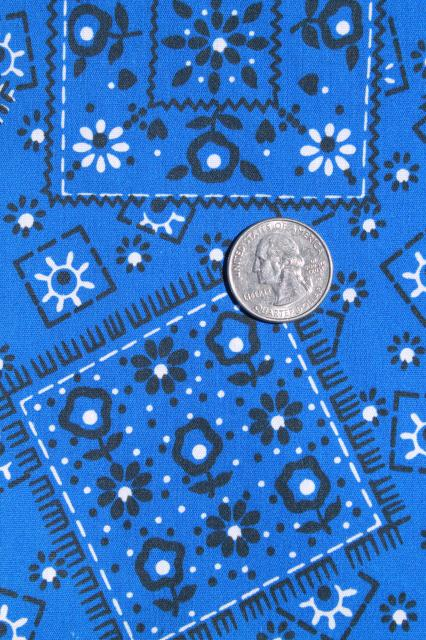 70s vintage blue bandana print fabric polyester / cotton country western style