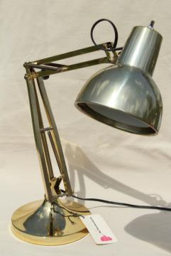 70s vintage brass desk light, industrial anglepoise style task utility work table lamp