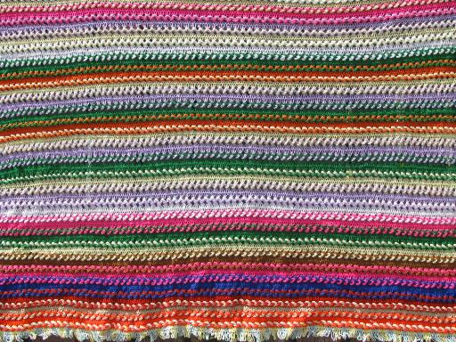 70s vintage broomstick lace crochet afghan, chunky stripes in retro colors