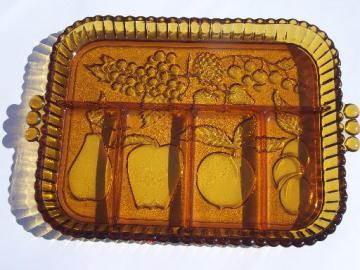 70s vintage carnival glass divided relish plate, gold luster fruit tray