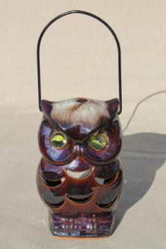 70s vintage ceramic owl lantern, retro brown owl candle luminaria light