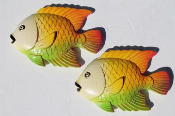 70s vintage chalkware fish wall plaques, Miller Studios retro tropical fish!
