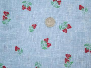 70s vintage chambray blue cotton hopsack fabric, retro strawberry print