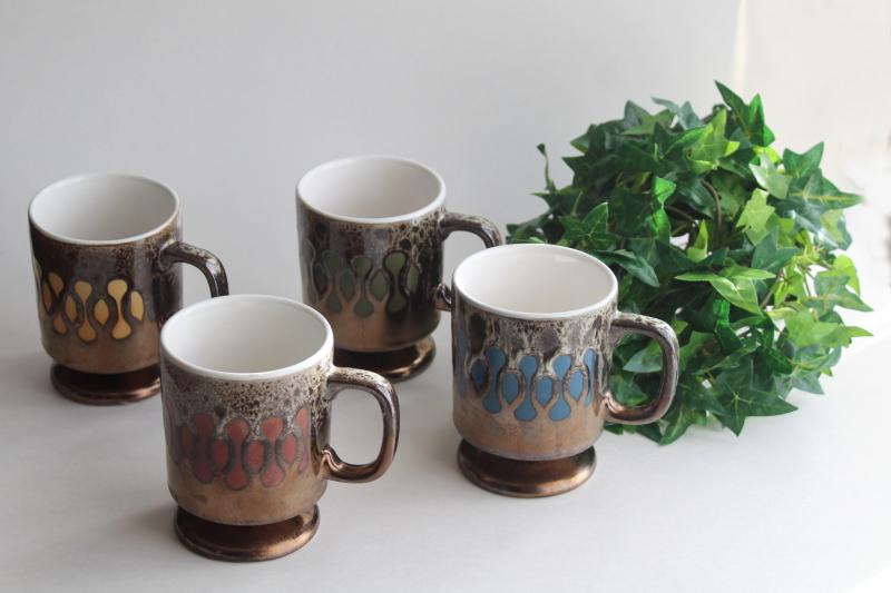 70s vintage coffee cups or mugs, red blue green yellow bronze brown drip pottery