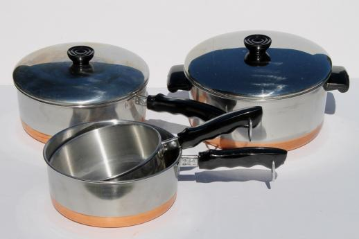 70s Vintage Copper Bottom Stainless Steel Pots Pans Set By Korea