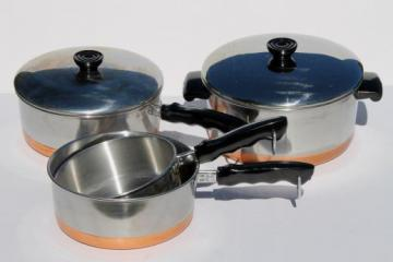 70s vintage copper bottom stainless steel pots & pans set, BY - Korea