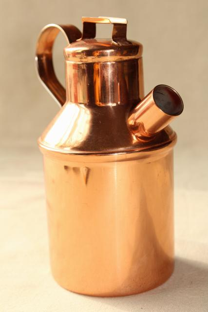 70s vintage copper milk jug, carafe or oil bottle, small can w/ spout