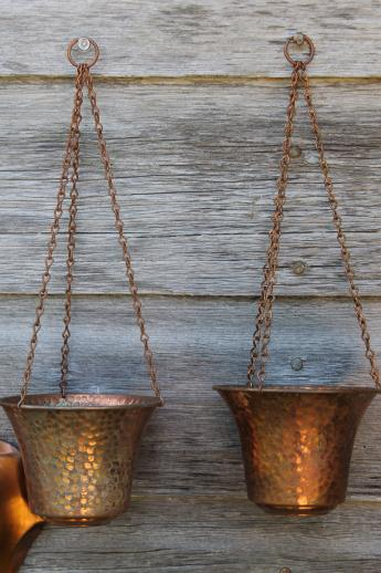 70s Vintage Copper Planters Collection, Wall Hanging Window Garden Flower  Pots