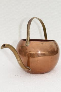 70s vintage copper watering can for house plants, round ball shape w/ long brass spout
