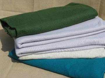 70s vintage cotton blend thick jersey knit fabric lot, 10+ yards