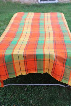70s vintage cotton gauze bedspread, retro hippie orange gold lime green plaid