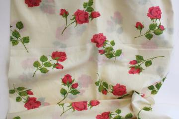 70s vintage cotton poly blend fabric, girly pink roses floral bohemian flowers