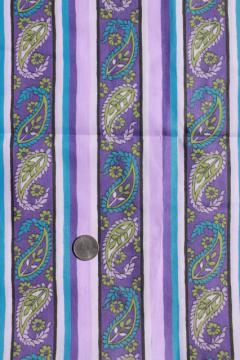 70s vintage cotton / poly shirting fabric w/ lavender purple paisley stripe