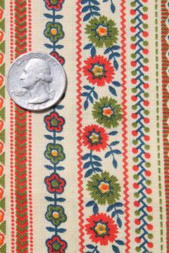 70s vintage cotton print fabric, folk art flowers striped in bright colors