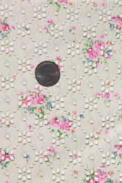 70s vintage eyelet lace polyester fabric w/ girly floral, retro boho hippie style