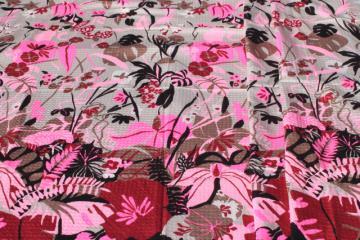 70s vintage fabric, Hawaiian print tropical flowers border cotton plisse pucker texture cotton